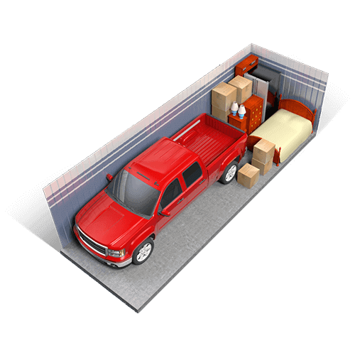 An example of a 10x30 storage unit holding boxes, furniture, appliances, a truck, and miscellaneous items.